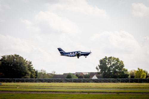 ZeroAvia's hydrogen-powered airplane takes off for a test run.