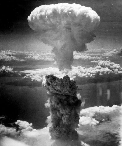 Mushroom cloud above Nagasaki after atomic bombing on August 9, 1945. Taken from the north west.