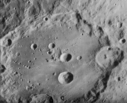 Slightly oblique view of most of Clavius, on the moon. North is to upper right.