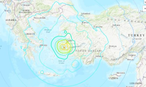 Map showing the location of the Aegean Sea earthquake.