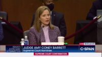 Amy Coney Barrett answers questions during the Senate hearing on October 14.