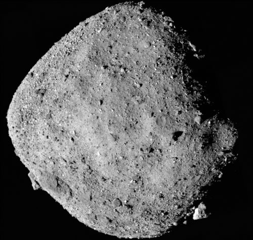 This mosaic image of asteroid Bennu is composed of 12 PolyCam images collected on Dec. 2 by the OSIRIS-REx spacecraft from a range of 15 miles (24 km).