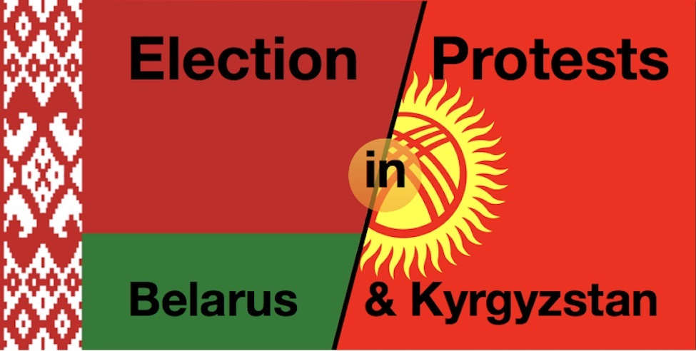 "The text ""Election Protests in Belarus and Kyrgyzstan"" superimposed on the combined flags of the two countries."