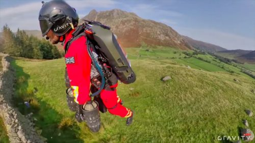 Richard Browning shows off his jet suit in the mountains of the Lake District as he tests the suit for possible use by emergency medical workers.