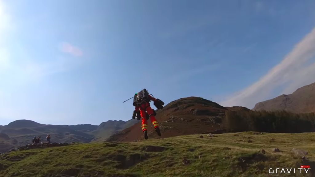 Richard Browning shows of his jet suit in the mountains of the Lake District as he tests the suit for possible use by emergency medical workers.