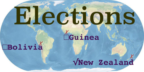 World map with the word Elections. Bolivia, Guinea, and New Zealand are marked.