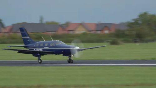 ZeroAvia's hydrogen-powered airplane lands after a test run.