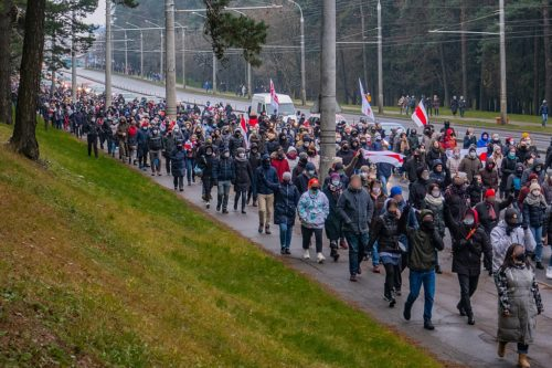 Local rally in Zavodski district of Minsk during decentralized protests against Lukashenko, 22 November 2020. Minsk, Belarus