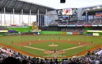 First pitch at Marlins Park, home of the Miami Marlins, which held its first Major League game on April 4, 2012, between the Marlins and the St. Louis Cardinals.