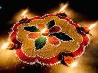 Rangoli on Diwali 2020 at Moga, Punjab, India