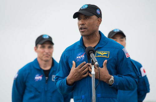 NASA astronaut Victor Glover speaks to members of the media after arriving from Houston at the Launch and Landing Facility at NASA's Kennedy Space Center with fellow NASA astronauts Mike Hopkins and Shannon Walker and Japan Aerospace Exploration Agency (JAXA) astronaut Soichi Noguchi, ahead of SpaceX's Crew-1 mission, Sunday, Nov. 8, 2020, in Florida.