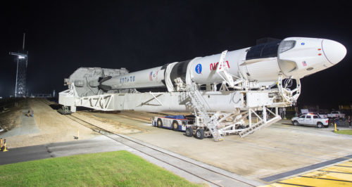 A SpaceX Falcon 9 rocket with the company's Crew Dragon spacecraft onboard is seen as it is rolled out of the horizontal integration facility at Launch Complex 39A as preparations continue for the Crew-1 mission, Monday, Nov. 9, 2020, at NASA's Kennedy Space Center in Florida.