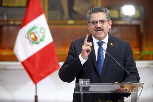 Manuel Merino announces his resignation as president of Peru.