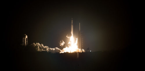 A SpaceX Falcon 9 rocket carrying the company's Crew Dragon spacecraft is launched on NASA's SpaceX Crew-1 mission to the International Space Station with NASA astronauts Mike Hopkins, Victor Glover, Shannon Walker, and Japan Aerospace Exploration Agency astronaut Soichi Noguchi onboard, Sunday, Nov. 15, 2020, at NASA's Kennedy Space Center in Florida.