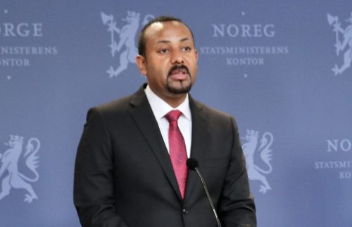 Abiy Ahmed speaking in 2019.