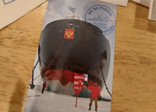 Postcard showing the Ice-breaker 50 Years of Victory.
