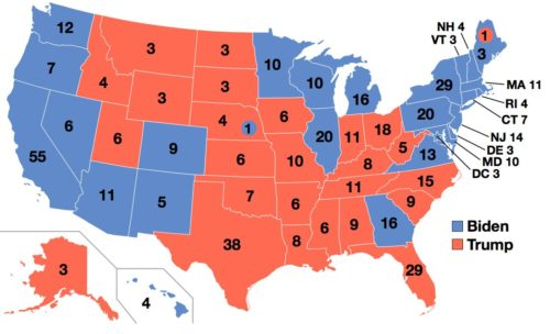 Map of the Electoral College for the United States presidential election, 2020.