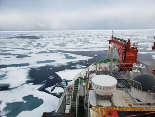Thin ice at the North Pole on August 19, 2020, as seen from the research ship the Polarstern.