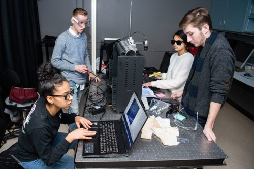 Students at the Rochester Institute of Technology work to develop a scanning device.