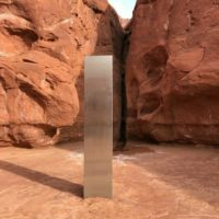 The metal monolith found in the Utah desert.