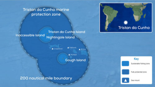Map showing the marine protection zone around Tristan da Cunha.