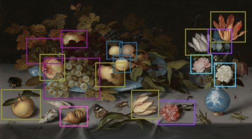 Outlines around items related to smell on the painting Still Life with Fruit and Flowers, by Balthasar van der Ast, 1620 - 1621.