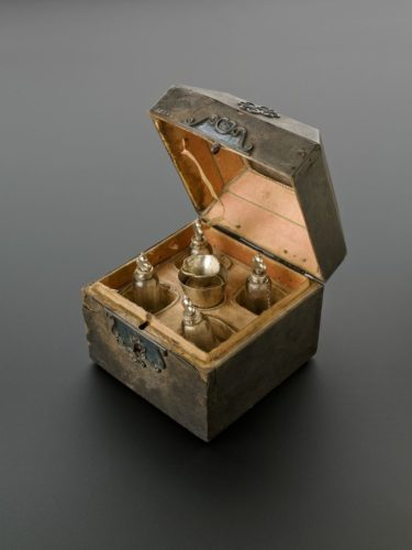 A square, leather-covered wooden perfume case, Netherlands, 1671-1700.