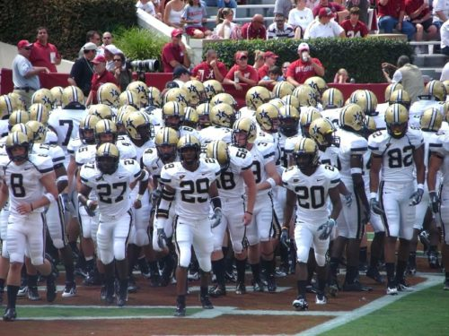 Vanderbilt Commodores football team running onto the field in 2006.