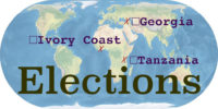 World map with the word Elections. Georgia, Ivory Coast, and Tanzania are marked and labeled.