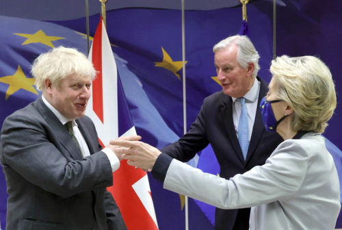 The Prime Minister Boris Johnson with Ursula von Der Leyen and Michel Barnier after their dinner at the European Commission in Brussels to continue with Brexit talks on December 9, 2020. Picture by Andrew Parsons / No 10 Downing Street