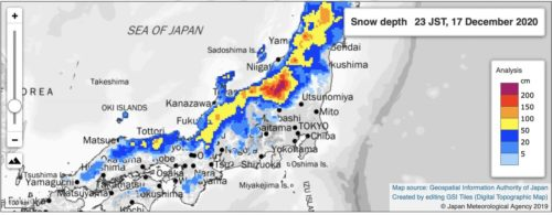 A map showing the depth of the recent snow in Japan.