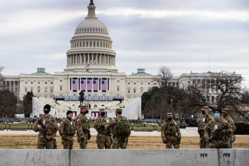 Georgia Army National Guardsmen take up security positions to assist the U.S. Capitol Police Department prior to the Presidential Inauguration in Washington D.C., Jan 19, 2021.