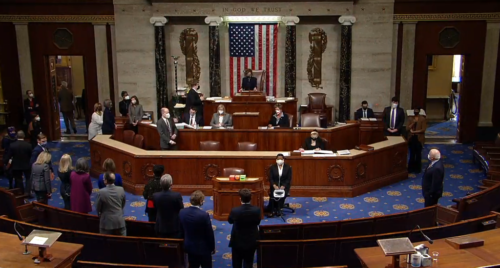 The United States House of Representatives votes to adopt an article of impeachment accusing President Donald Trump of incitement of insurrection, January 13, 2021.