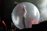 The Flaming Lips leader Wayne Coyne in a bubble.