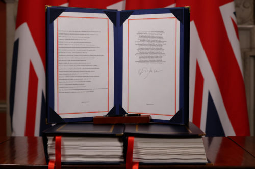 The completed, signed Brexit Trade Deal 12/30/2020. London, United Kingdom.