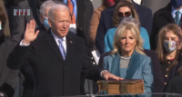 Joseph R. Biden Jr., 46th President of the United States, takes the oath of office as president on the West Front of the U.S. Capitol Building on January 20, 2021, at 11:49 a.m.
