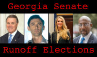 David Perdue, Jon Ossoff, Kelly Loeffler, and Raphael Warnock in an image labeled Georgia Senate Runoff Elections