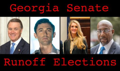 David Perdue, Jon Ossoff, Kelly Loeffler, and Raphael Warnock in an image labeled Georgia Senate Runoff Elections