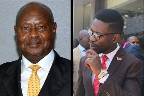 Ugandan President Yoweri Museveni and Robert Kyagulanyi, popularly known as Bobi Wine.