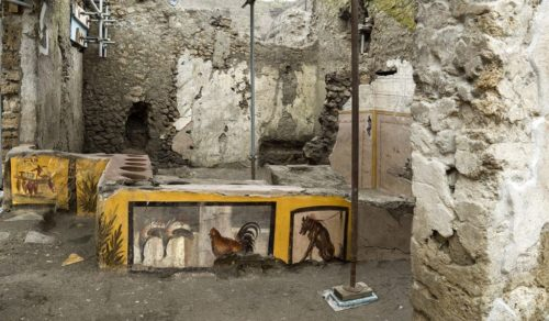 "Overall view of the ""snack bar"" uncovered in Pompeii."