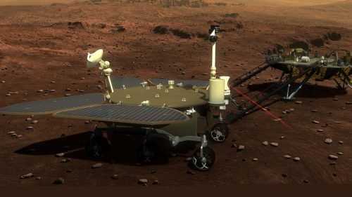 An artist's idea of what the Tianwen-1 rover will look like on Mars's surface.