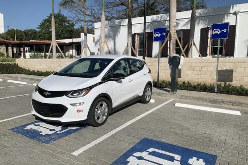 A Chevrolet Bolt EV being charged.