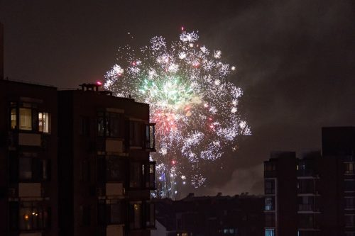 Chinese New Year fireworks in Xibeiwang, Haidian, Beijing 2021-02-12.