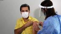 A man being vaccinated against COVID-19 in Santa Fe, Argentina