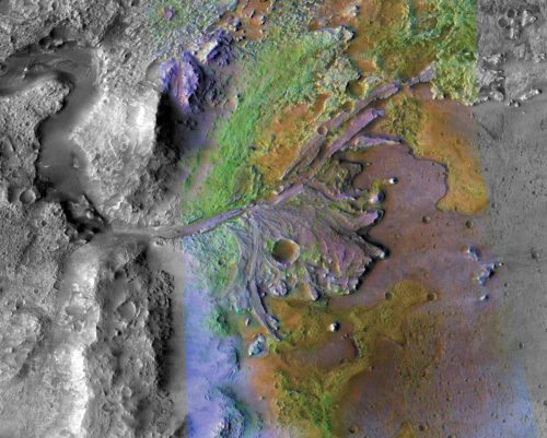 A color-enhanced image of the delta in Jezero Crater, which once held a lake. It will be the landing site of NASA's Mars 2020 rover.