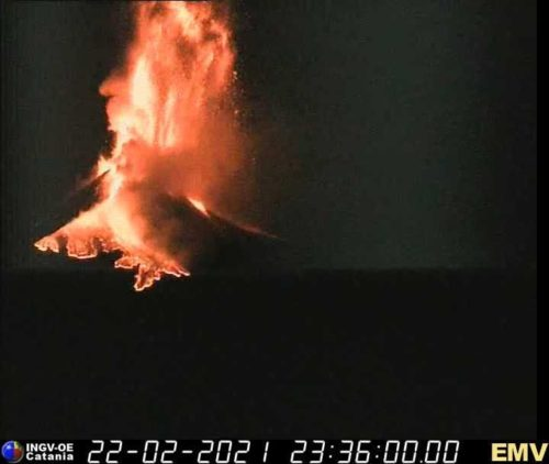 A photo showing a massive lava fountain erupting from Mount Etna on February 22, 2021.