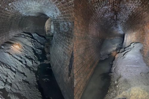 Side by side pictures of a massive fatberg found in the sewers of London under Canary Wharf.