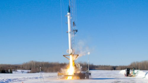 Stardust 1.0, a biofuel-powered rocket developed by bluShift Aerospace, takes off.