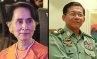 Aung San Suu Kyi (left), Senior General Min Aung Hlaing (right)