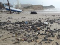 Tar pollution at Hadera Beach.